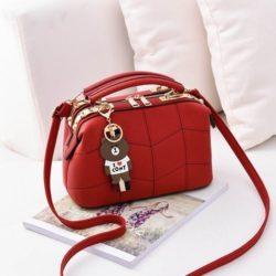 JT99870-red Doctor Bag Elegan Wanita Gantungan Cony