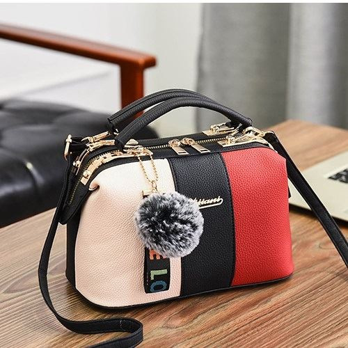JT998702-black Doctor Bag Pom Pom LOVE Import