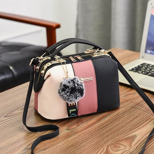 JT998702-pink Doctor Bag Pom Pom LOVE Import
