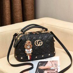 JT998728-black Doctor Bag Fashion Elegan Gantungan Line Brown