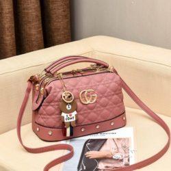JT998728-darkpink Doctor Bag Fashion Elegan Gantungan Line Brown