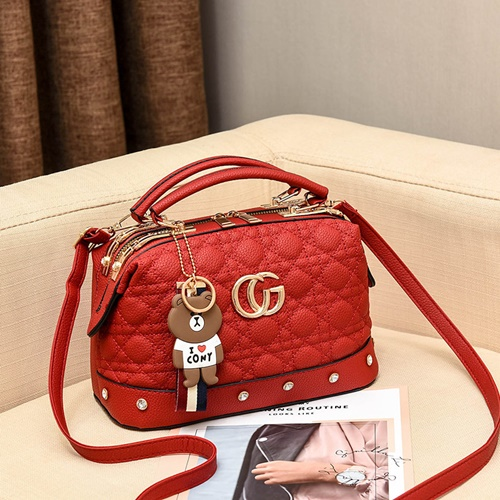 JT998728-red Doctor Bag Fashion Elegan Gantungan Line Brown