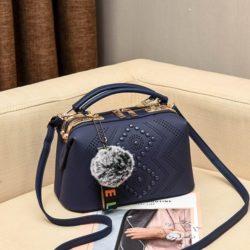 JT998747-blue Doctor Bag Selempang Gantungan Pom Pom Import