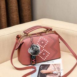 JT998747-darkpink Doctor Bag Selempang Gantungan Pom Pom Import