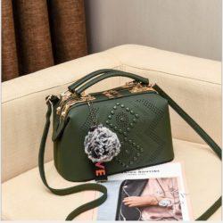 JT998747-green Doctor Bag Selempang Gantungan Pom Pom Import