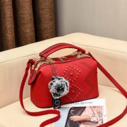 JT998747-red Doctor Bag Selempang Gantungan Pom Pom Import