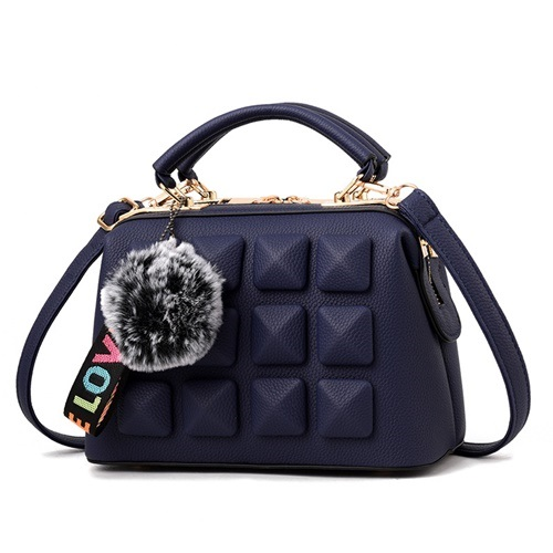 JT99879-blue Tas Handbag Pom Pom Rubic Import Wanita Cantik