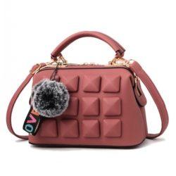 JT99879-darkpink Tas Handbag Pom Pom Rubic Import Wanita Cantik