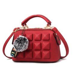 JT99879-red Tas Handbag Pom Pom Rubic Import Wanita Cantik