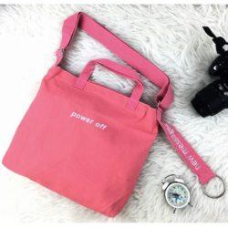JTF0031-pink Tas Tote Canvas Multifungsi Import