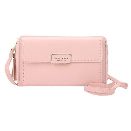 JTF0101-pink Dompet Panjang Wanita Baellerry Tali Selempang