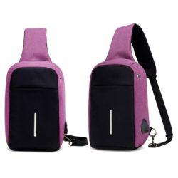 JTF020-purple Tas Selempang USB Unisex Terbaru