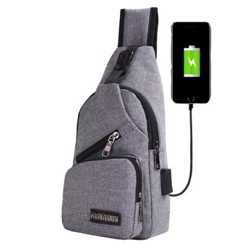 JTF0817-gray Waist Bag Crossbody Pria Keren Terbaru