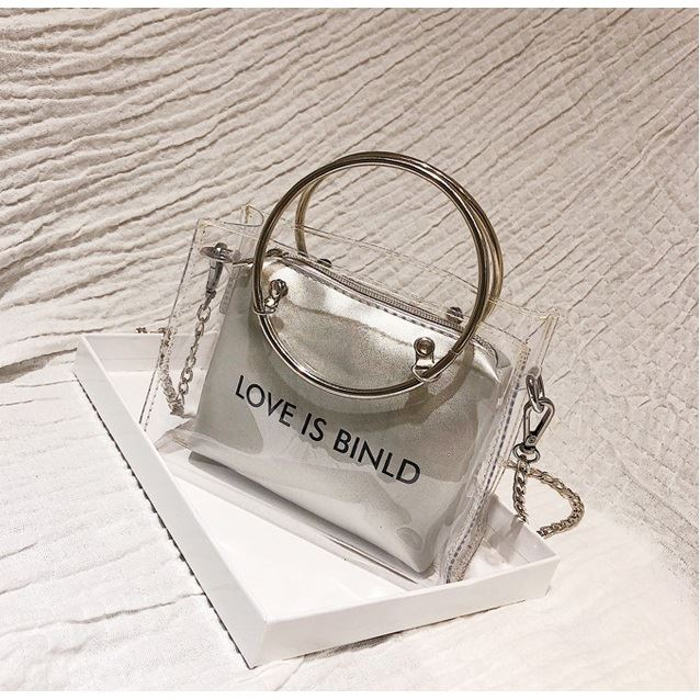 JTF10239 (2IN1) IDR.29.000 MATERIAL PU+TRANSPARENT SIZE L17XH12XW7CM WEIGHT 250GR COLOR TRANSPARENTSILVER