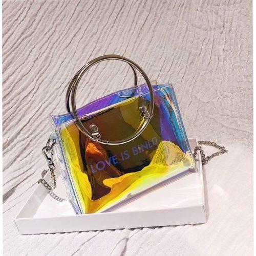JTF10239-laserblack Tas Sling Bag Transparan 2in1 Kekinian
