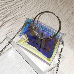 JTF10239-lasersilver Tas Sling Bag Transparan 2in1 Kekinian