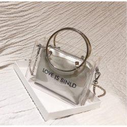 JTF10239-transparentsilver Tas Sling Bag Transparan 2in1 Kekinian