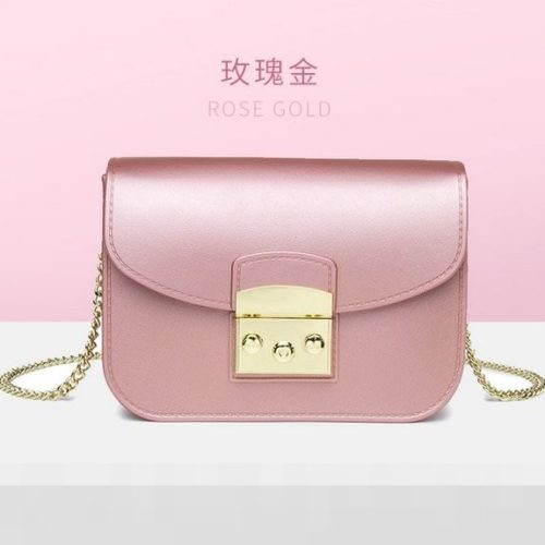 JTF1070-pinkgold Tas Selempang Jelly Import Terbaru