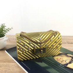 JTF10841-gold Tas Jelly Matte Kristal Elegan Import