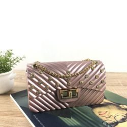 JTF10841-pinkgold Tas Jelly Matte Kristal Elegan Import