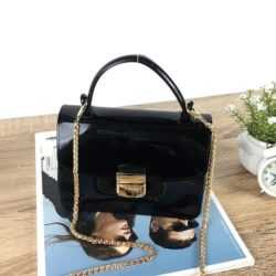 JTF1088-black Tas Pesta Jelly Glossy Import Cantik