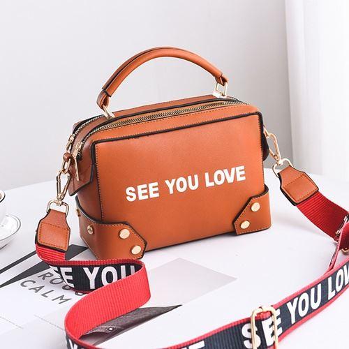 JTF1180-brown Tas Selempang SEE YOU LOVE Import Wanita