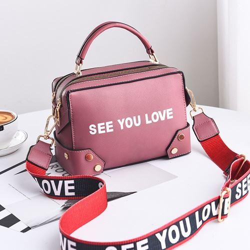 JTF1180-pink Tas Selempang SEE YOU LOVE Import Wanita