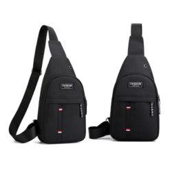 JTF12001B-black Sling Bag Canvas Modis Pria Keren Import Terbaru