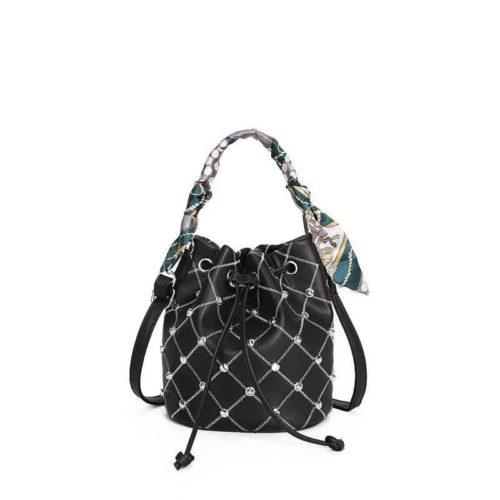 JTF12843-black Tas Handbag Serut Selempang Wanita Cantik Import