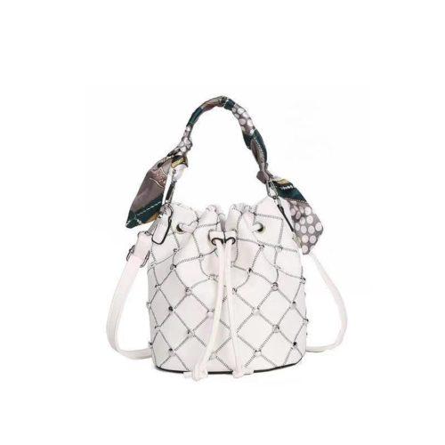 JTF12843-white Tas Handbag Serut Selempang Wanita Cantik Import