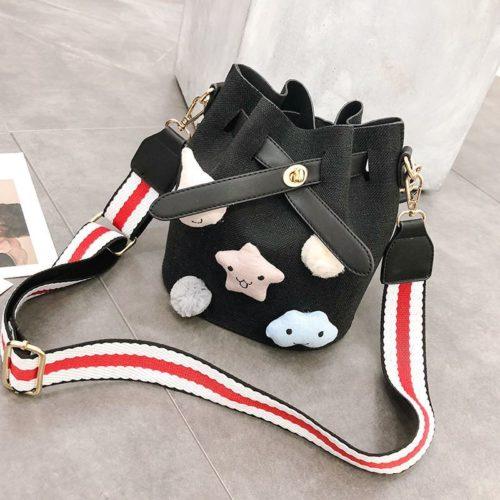 JTF12845-black Tas Serut Canvas Mini Selempang Import