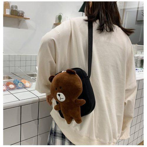 JTF16011-brown Tas Selempang Boneka Imut Wanita Cantik