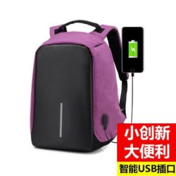 JTF1701-purple Tas Ransel Pria Anti Maling Colokan USB