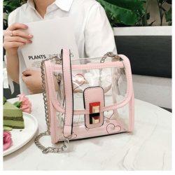 JTF297-pink Tas Selempang Transparan Wanita Cantik Import