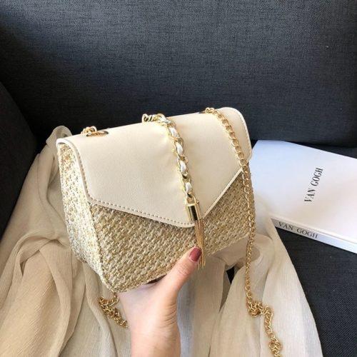JTF3148-beige Tas Selempang Straw Wanita Cantik Import