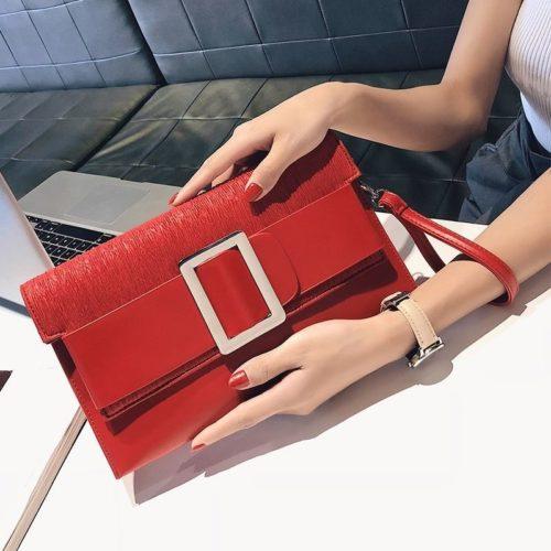 JTF5869-red Dompet Clutch Wanita Cantik Elegan