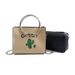 JTF6256-green Tas Handbag Wanita 2in1 Tali Selempang Rantai