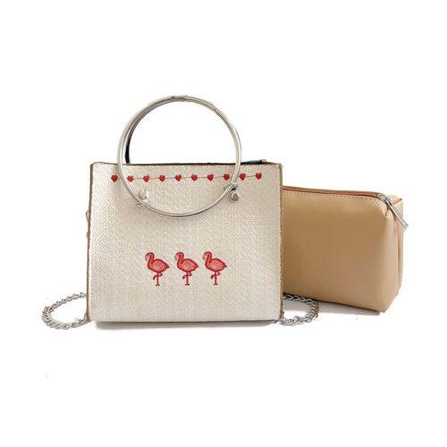 JTF6256-white Tas Handbag Wanita 2in1 Tali Selempang Rantai