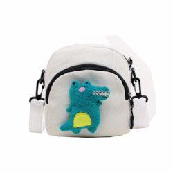 JTF644-white Tas Selempang Stylish Motif Dinosaur Import