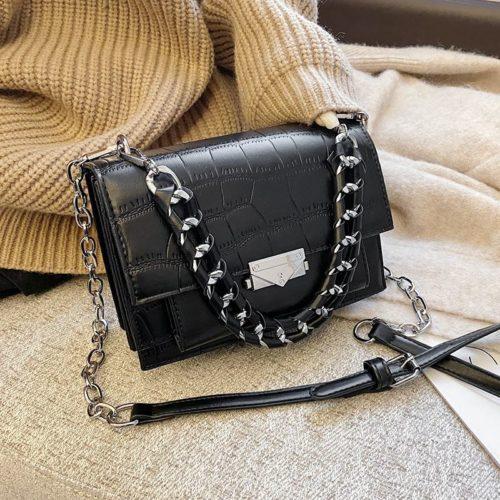 JTF7243-black Tas Selempang Croco Wanita Cantik Import Terbaru