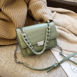 JTF7243-green Tas Selempang Croco Wanita Cantik Import Terbaru