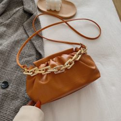 JTF77417-brown Tas Selempang Model Chain Import Wanita Cantik