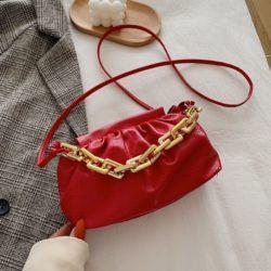 JTF77417-red Tas Selempang Model Chain Import Wanita Cantik