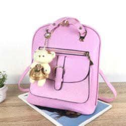 JTF8873-pink Tas Ransel Import Wanita Cantik Gantungan Boneka