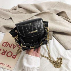 JTF9523-black Tas Selempang Model Rantai Wanita Cantik Terbaru