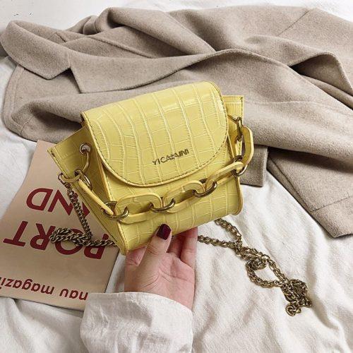 JTF9523-yellow Tas Selempang Model Rantai Wanita Cantik Terbaru