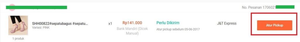 Klik Atur Pick Up Free Ongkir J&T