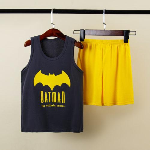 PJ067-batman Baju Set Casual Anak Bahan Cotton Unisex