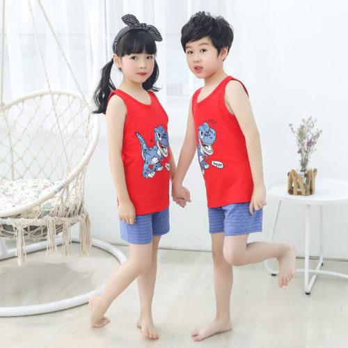 PJ067-dinosaur Baju Set Casual Anak Bahan Cotton Unisex