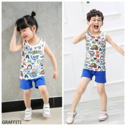 PJ067-grafitti Baju Set Casual Anak Bahan Cotton Unisex